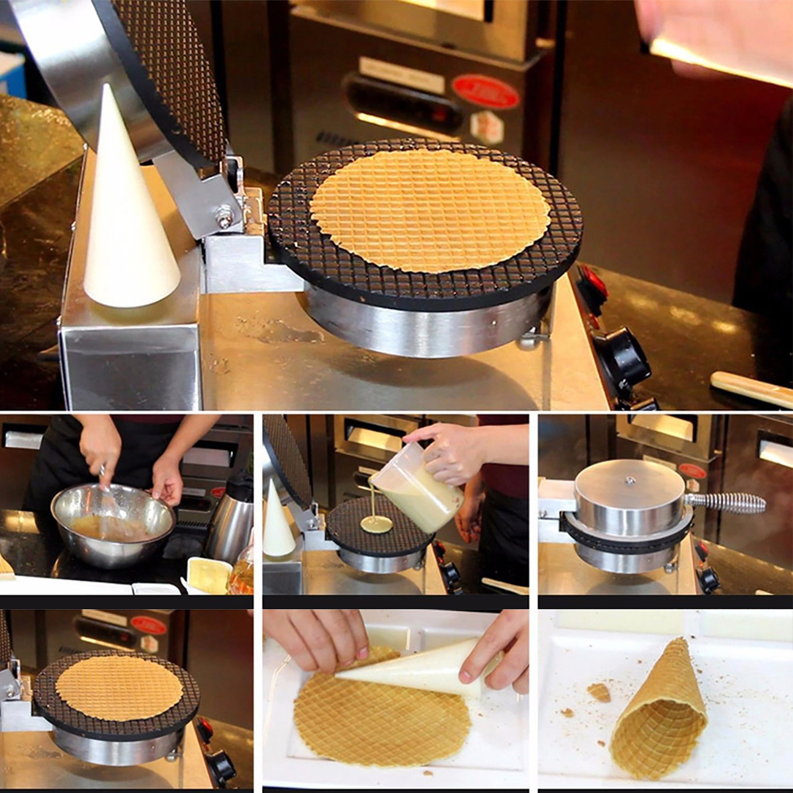 Kitchen-Electric-Stainless-Steel-Ice-Cream-Egg-Waffle-Cone-Maker-Cooking-Machine thumbnail 15