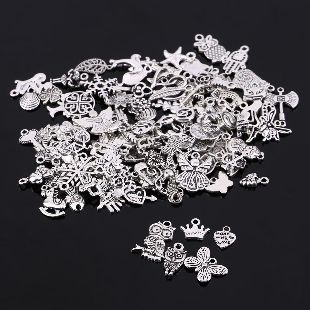 Wholesale 100pcs Bulk Lots Tibetan Silver Mix Charm Pendants Jewelry DIY Xmas EN