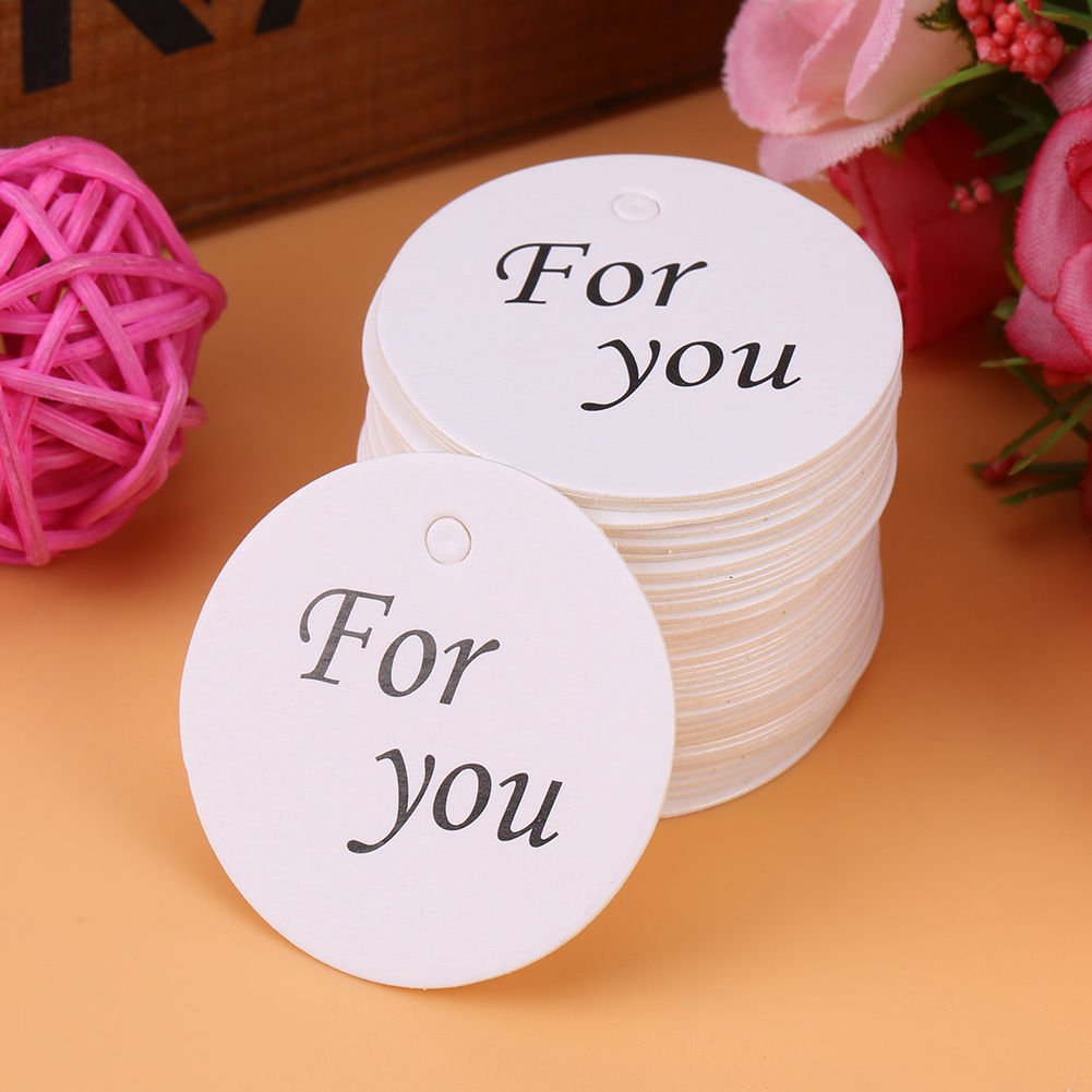 100pcs White Round Handmade Craft Paper Hang Labels Wedding Favor ...
