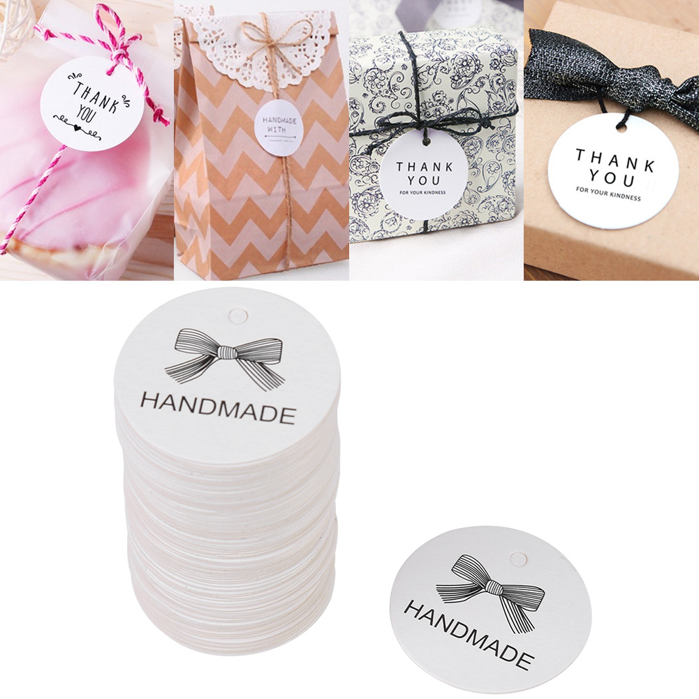 100pcs White Round Handmade Craft Paper Hang Labels Wedding Favor ...