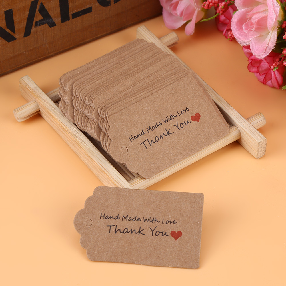 Average Cost Of Wedding Gift: 100pcs Brown Handmade Hang Tags Label Wedding Favor Gift