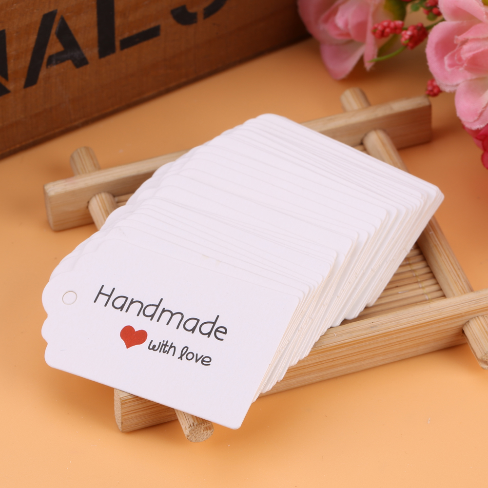 100pcs White Handmade Hang Tags DIY Wedding Favor Label Gift Cards ...