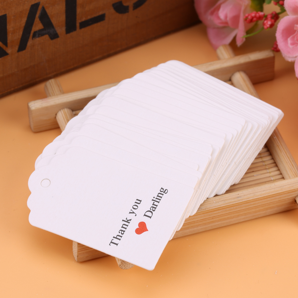 100pcs White Handmade Hang Tags Wedding Favor Label Gift Cards ...