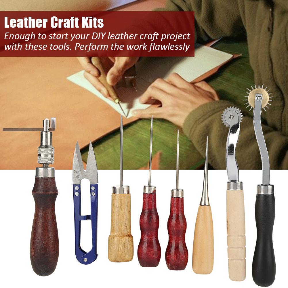 14 Stk Leder Craft Tools Punch Kit Nähen Groover Werkzeug Lederhandwerk Set
