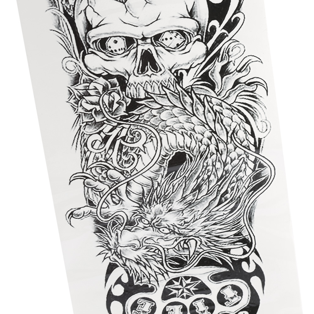 Large Full Arm Sleeve Temporary Tattoo Stencil Sticker
