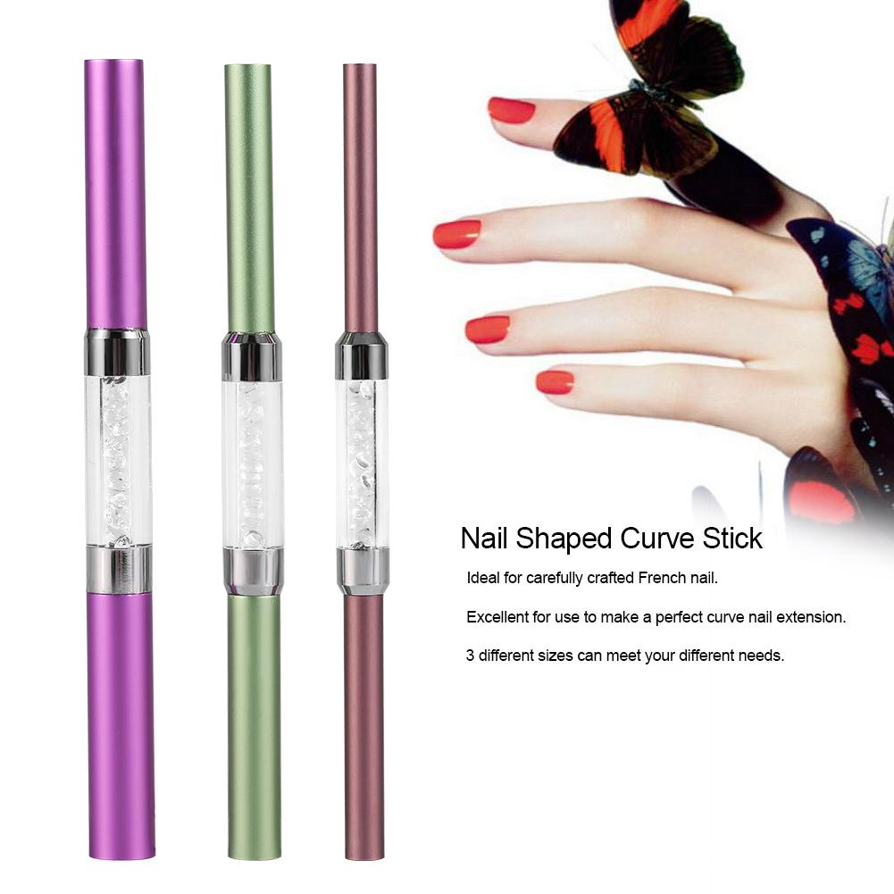 3Pcs French Acrylic Nail Art Tips Shaping C Curve Metal Rod Sticks ...