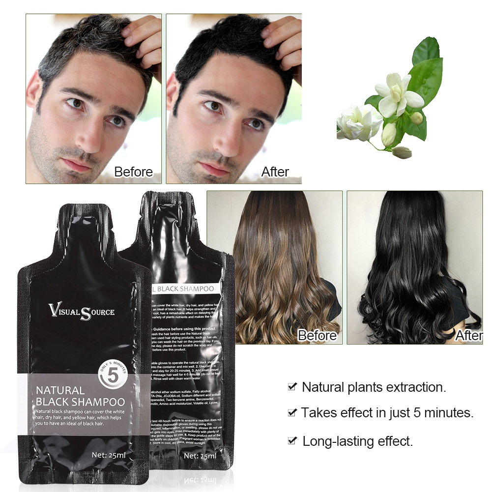 2pcs Instant Hair Dye Natural Black Hair Shampoo Only 5 Minutes Easy