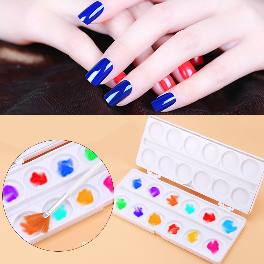 2 Gird Nail Art Palette Double Tray Drawing Painting Pigment Glue ...
