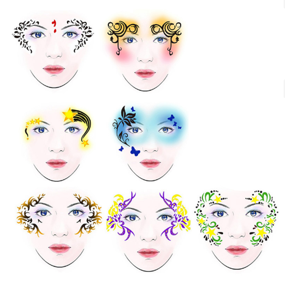 7styles set reusable face painting body art stencil template