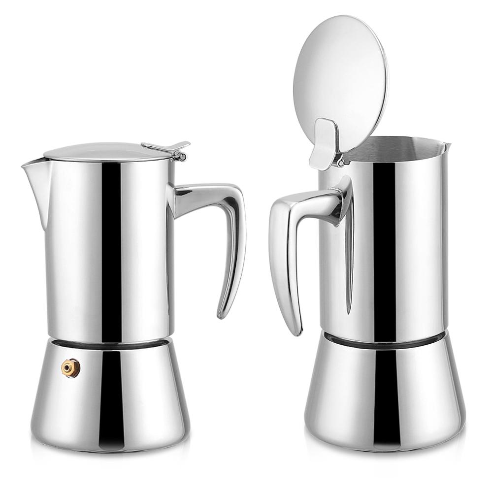 200ml edelstahl moka topf espresso kaffeemaschine f r gas elektro herd ebay. Black Bedroom Furniture Sets. Home Design Ideas