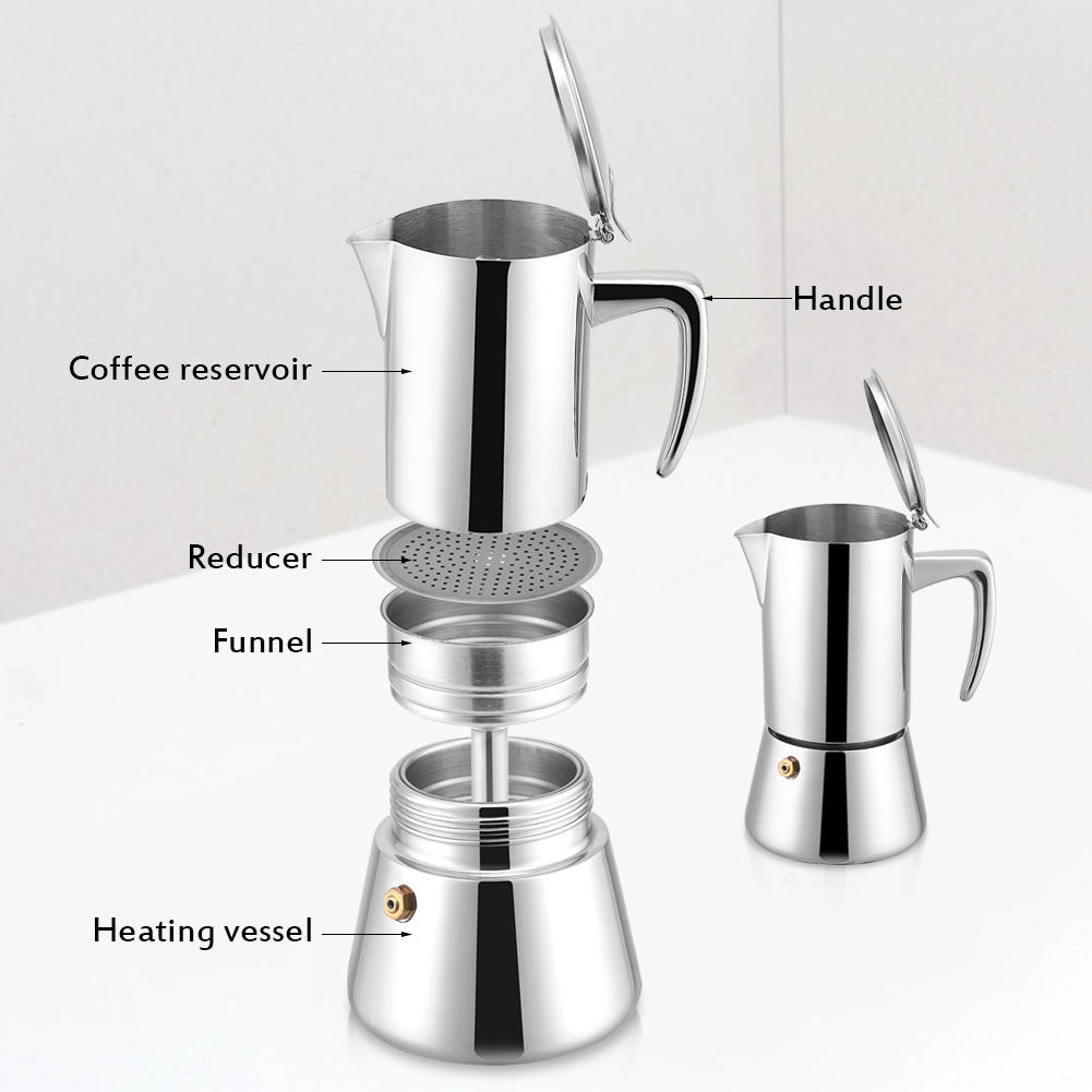 200ml edelstahl moka topf espresso kaffeemaschine f r gas elektro herd ebay. Black Bedroom Furniture Sets. Home Design Ideas