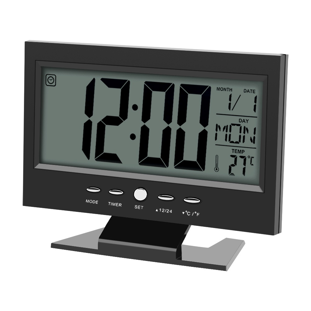 elektrisch uhr lcd alarm tischuhr digital wecker mit. Black Bedroom Furniture Sets. Home Design Ideas