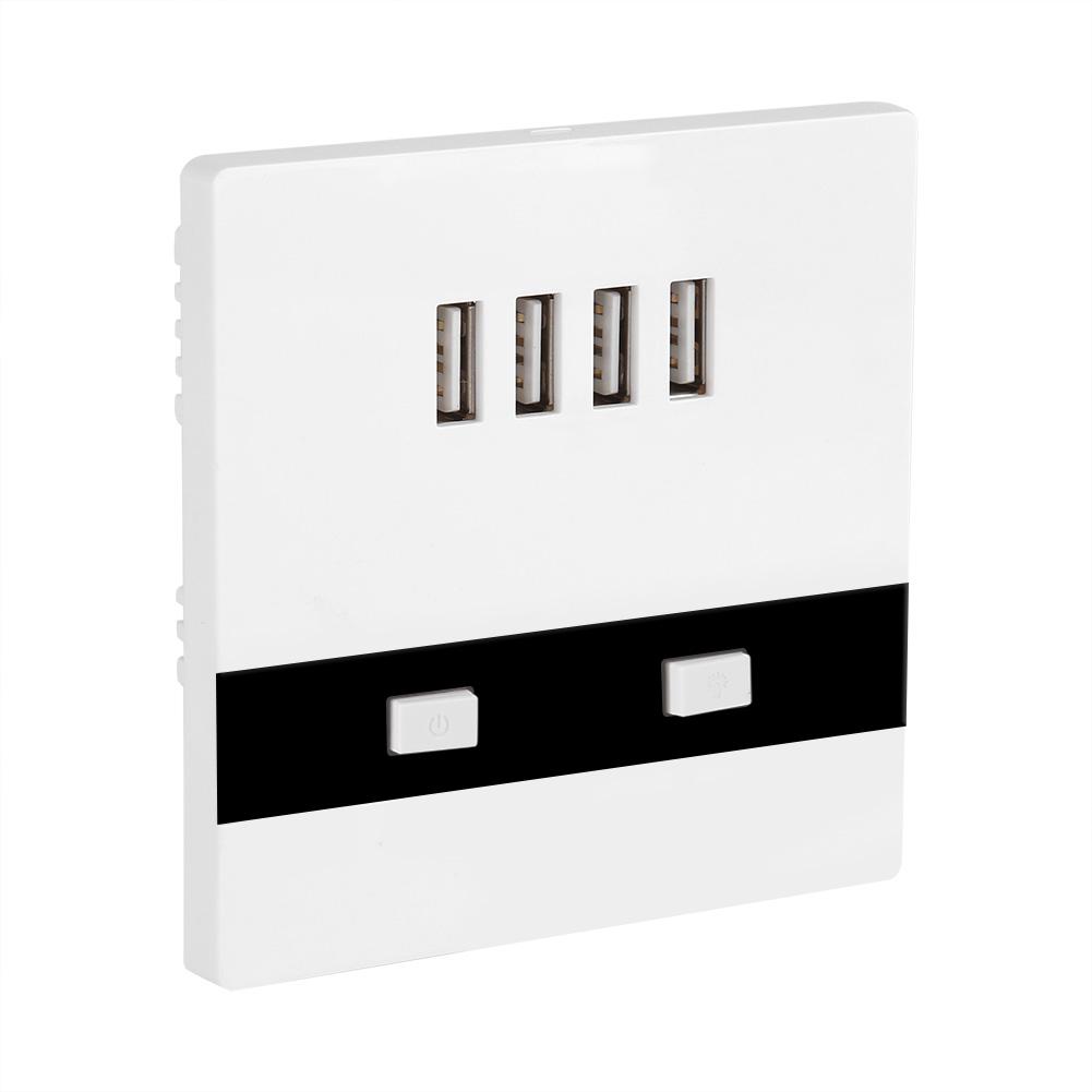 4 Ports 110-250V LED USB Licht Ladegerät Station Wand Steckdose für ...