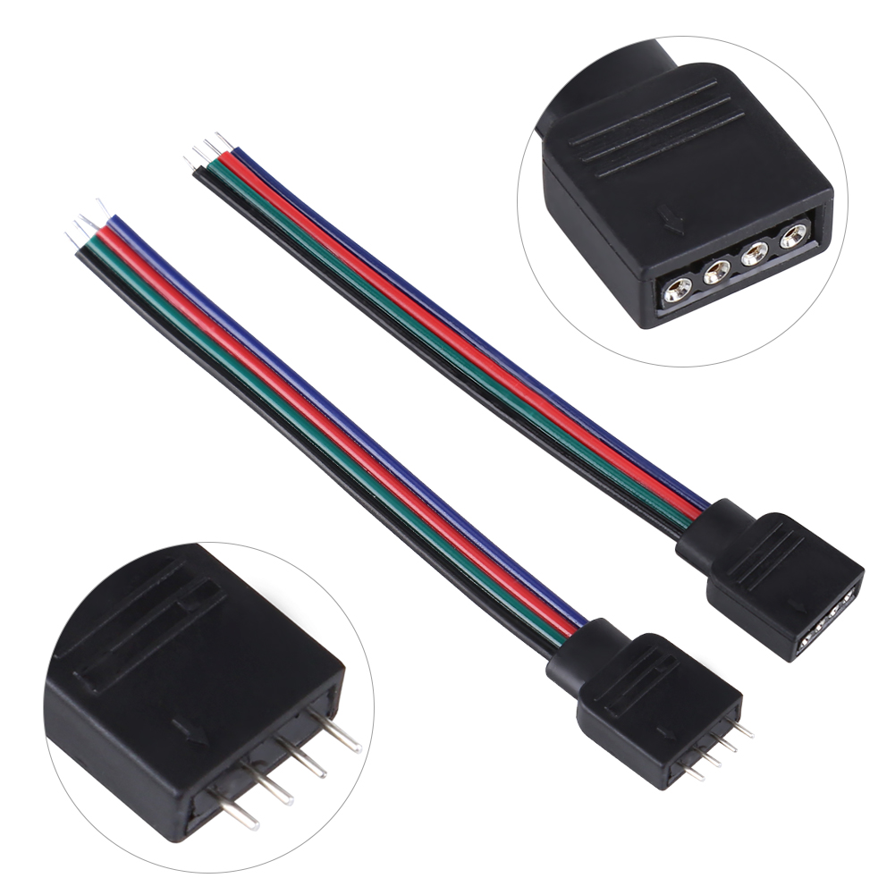 20pcs 4 Pin Cable Connector Wires For 5050 3528 3014 Rgb Led Strip Wiring Lights Image Is Loading