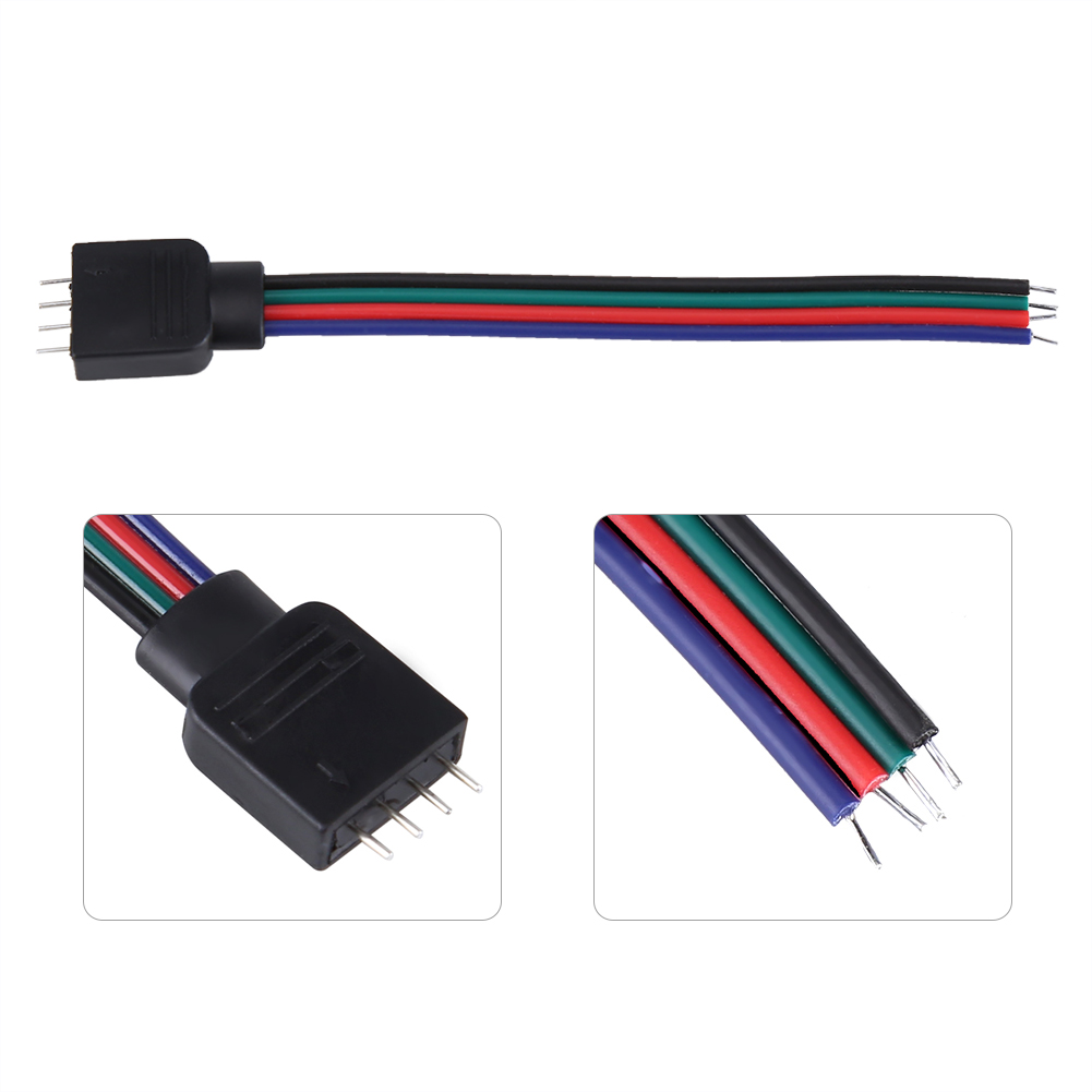 20pcs 4 Pin Cable Connector Wires For 5050 3528 3014 Rgb Led Strip Wiring