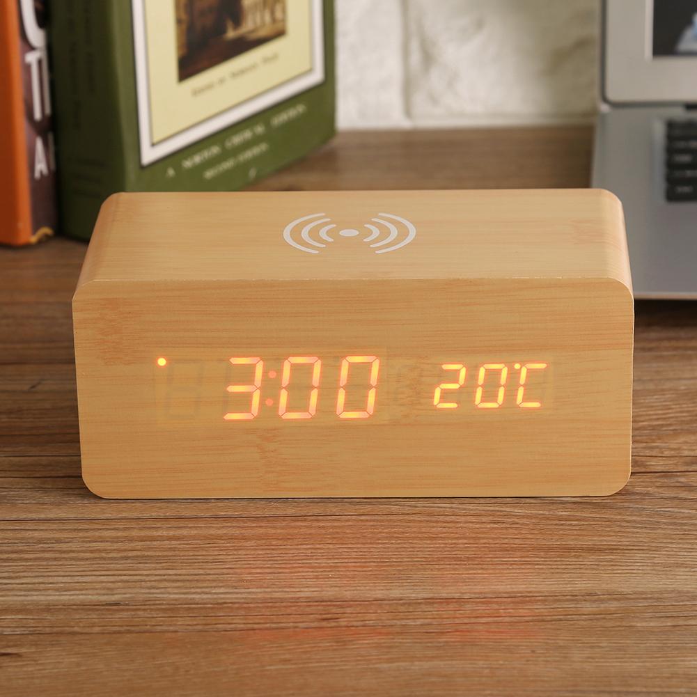 led digitale sveglia orologio temperatura wireless caricabatteria per phones ebay. Black Bedroom Furniture Sets. Home Design Ideas