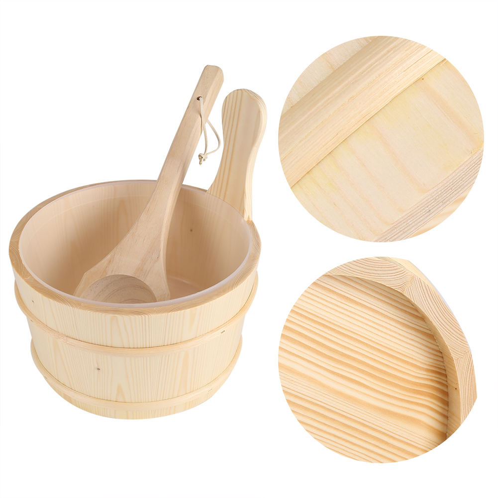 Bathroom natural wooden bucket ladle for sauna cabins for Wooden bathroom accessories