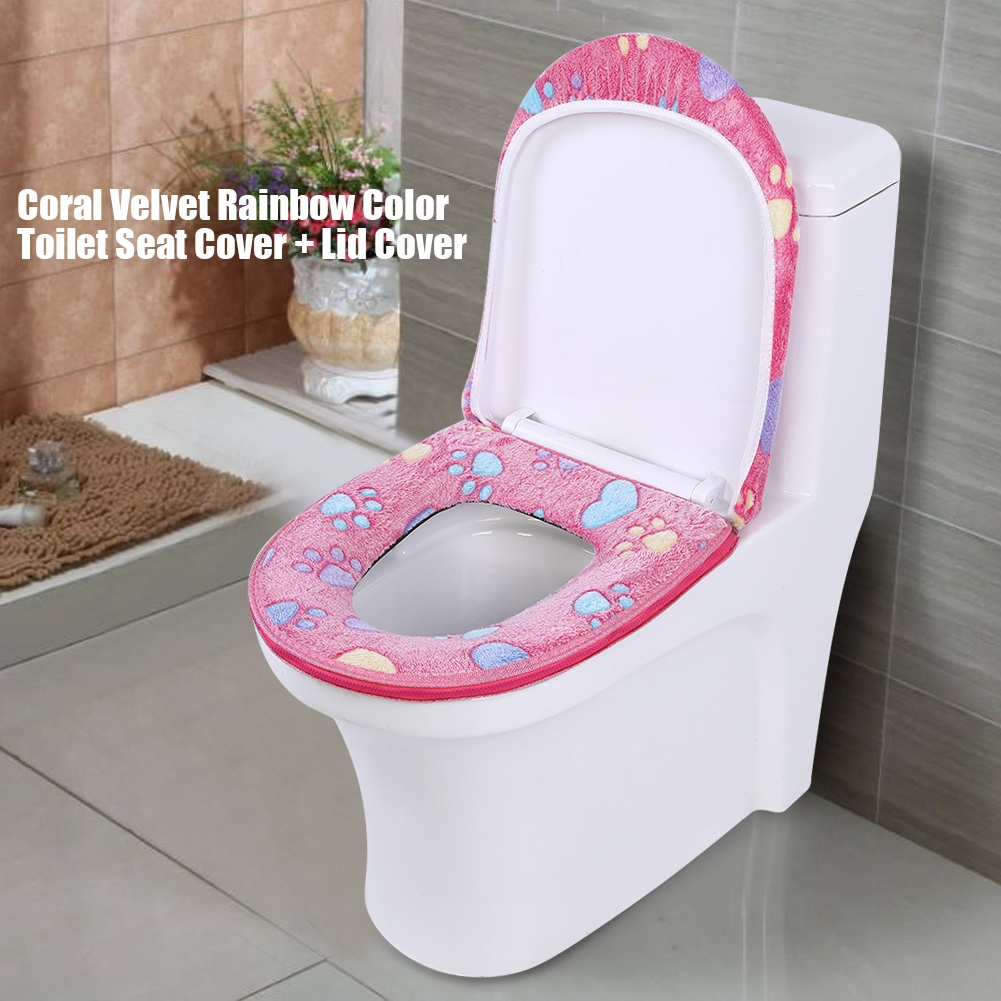 Soft Warm Plush Toilet Seat Cover Lid Pad Coral Velvet Home Bathroom Supply US