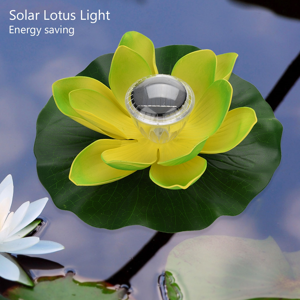 Solar Led Color Changing Lotus Flower Floating Lamp Pool Decor