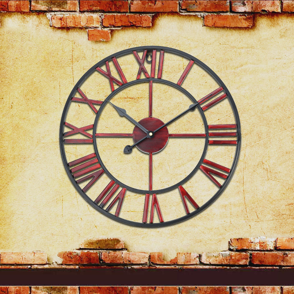 Large Art Wall Clock Rustic Iron Metal Vintage Industrial luxury ...