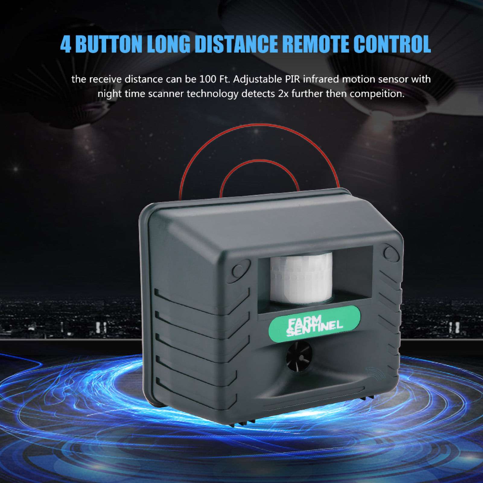 Pir Ultrasonic Animal Cat Dog Pest Repeller Repellent Scarer Outdoor Transmitter And Receiver Electronic Party Gear