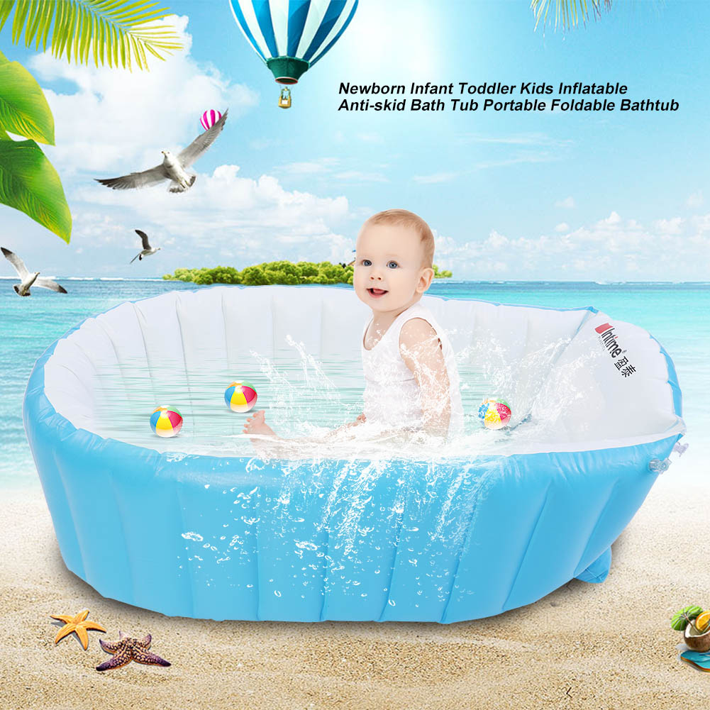 New Baby Kids Toddler Inflatable Bathtub Newborn Thick Bath Tub ...