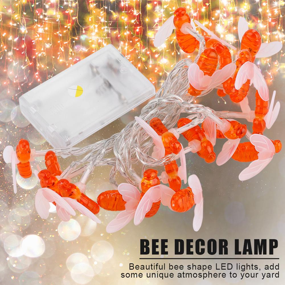 Fairy Bee String Led Lights Honey Bee Shape Solar Powered Garden