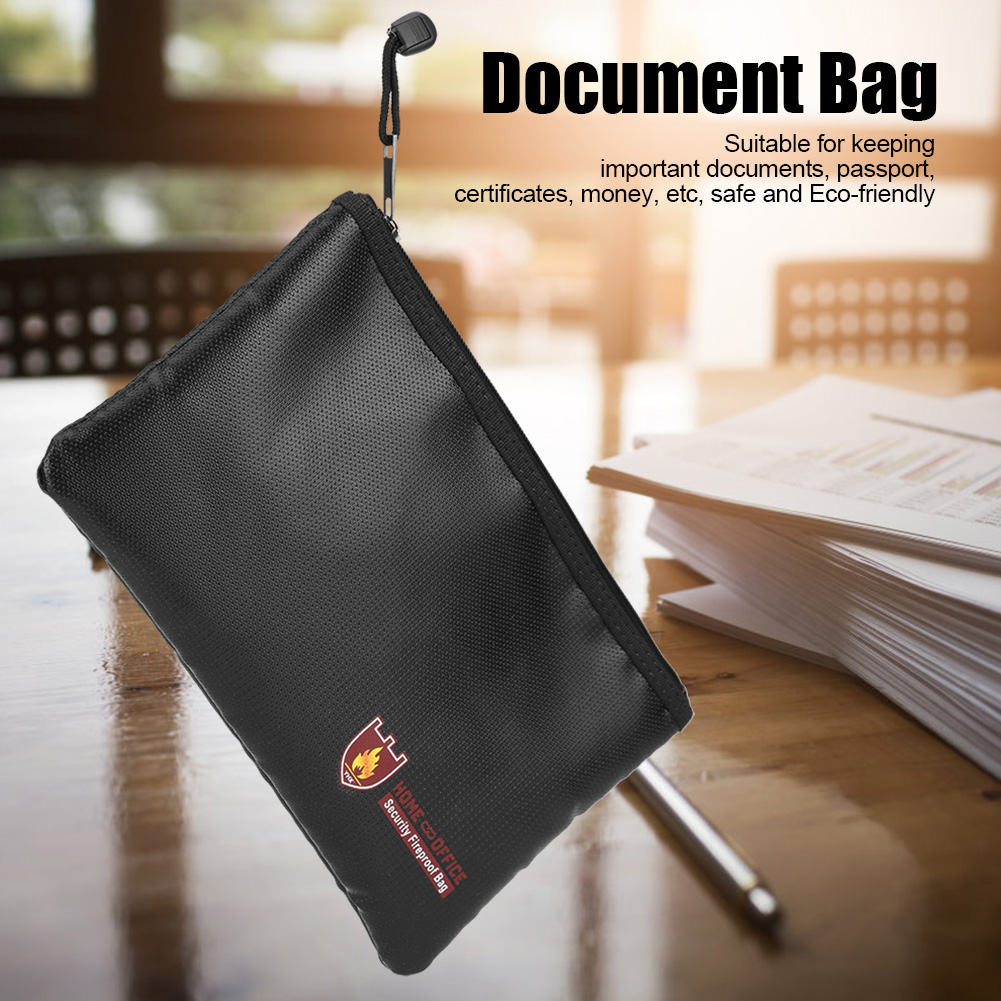 Fire Resistant Document Bag Fireproof Protection Bag Pouch Files Money Safety