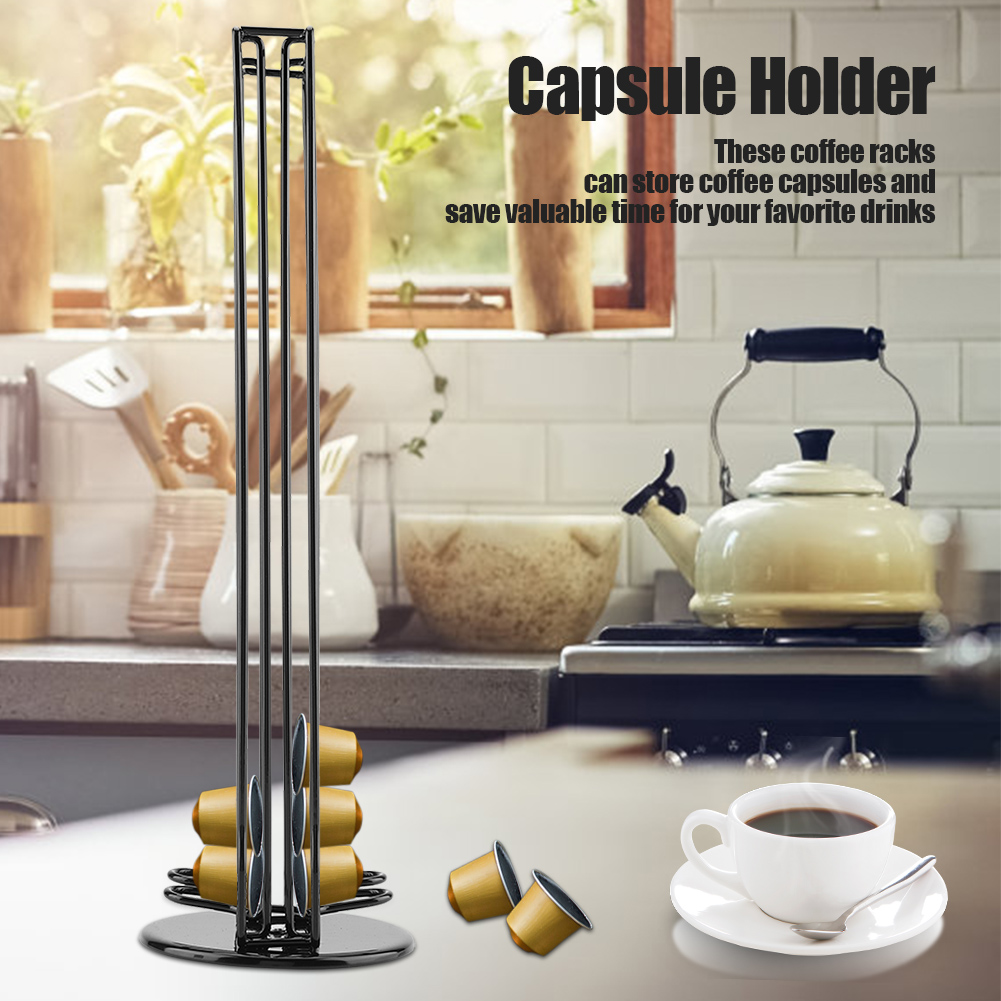 Rotatif chrome 24 capsule café pod support tower stand rack pour dolce gusto