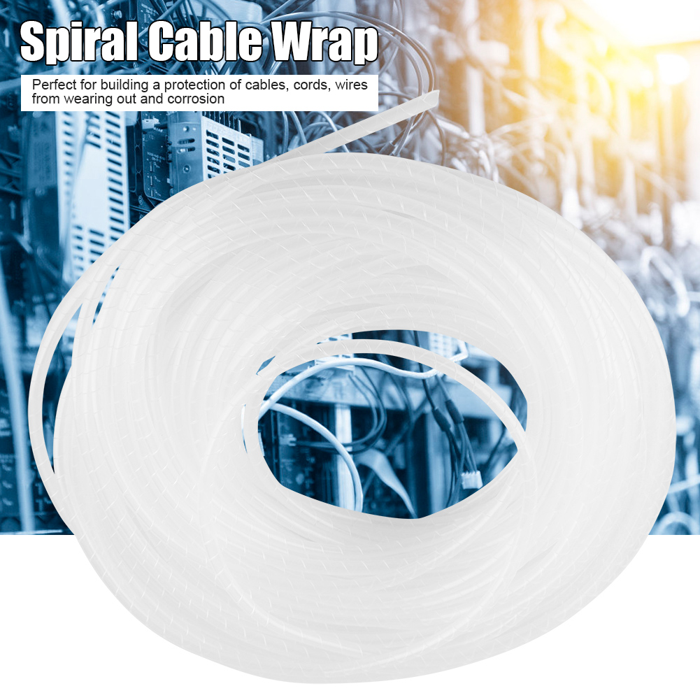8m/12m/15m/25m Black/White Wire Spiral Wrap Sleeving Band Tube Cable ...