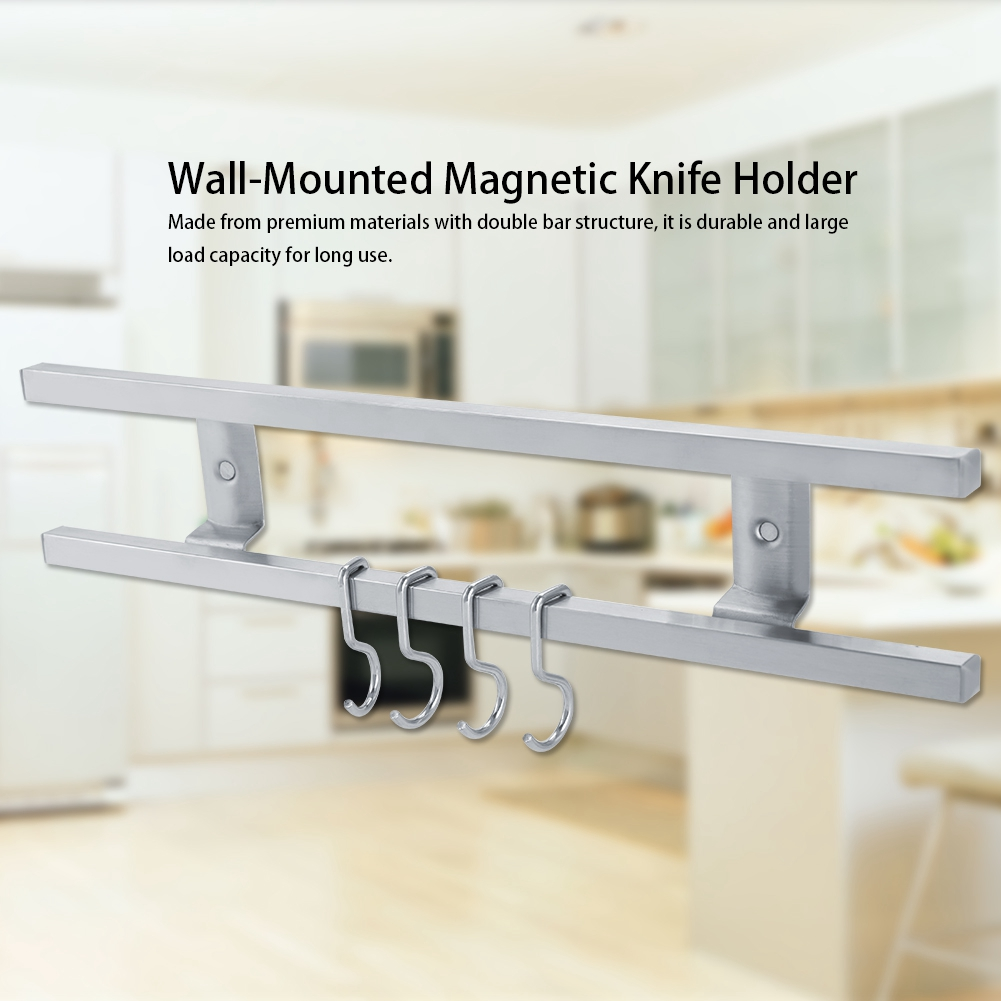 Details about Wall-Mounted Stainless Steel Magnetic Knife Holder Double  Kitchen Storage Rack