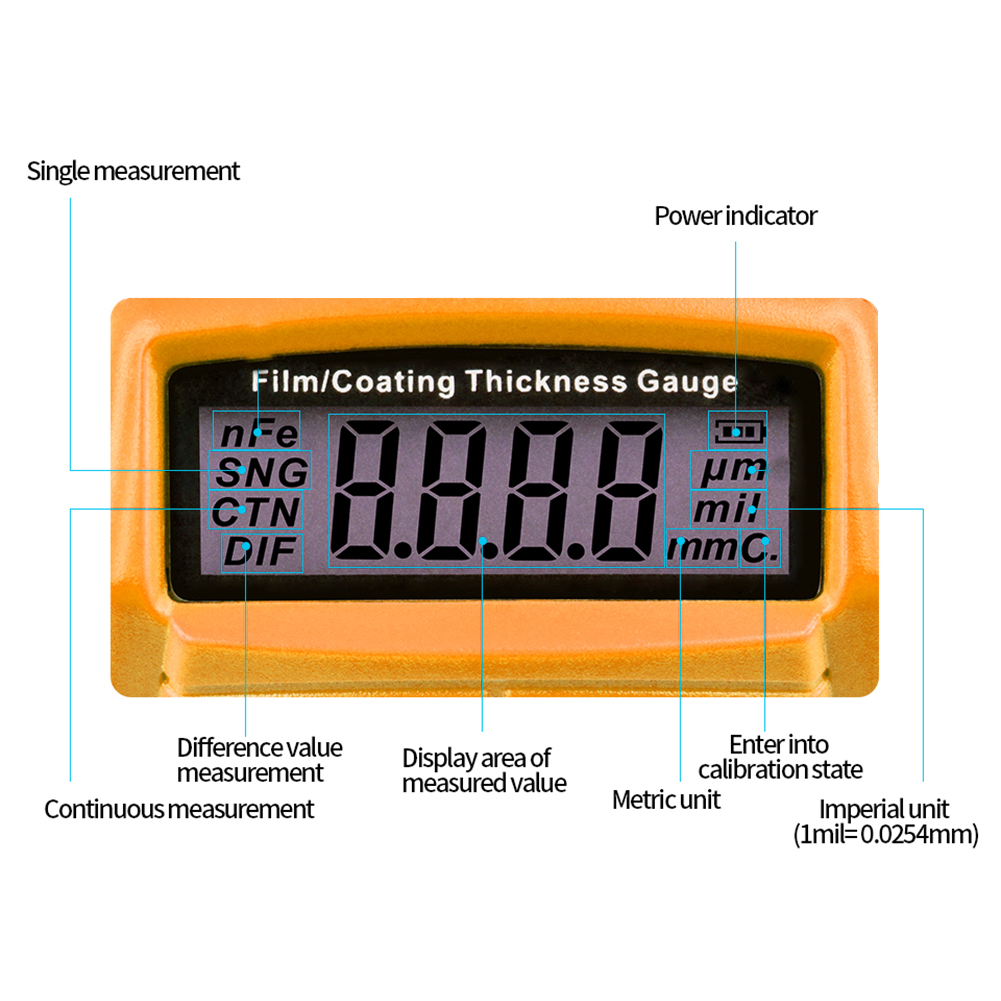 Mini-Car-Paint-Coating-Thickness-Gauges-Meter-Tester-Width-Measuring-Instruments miniature 46