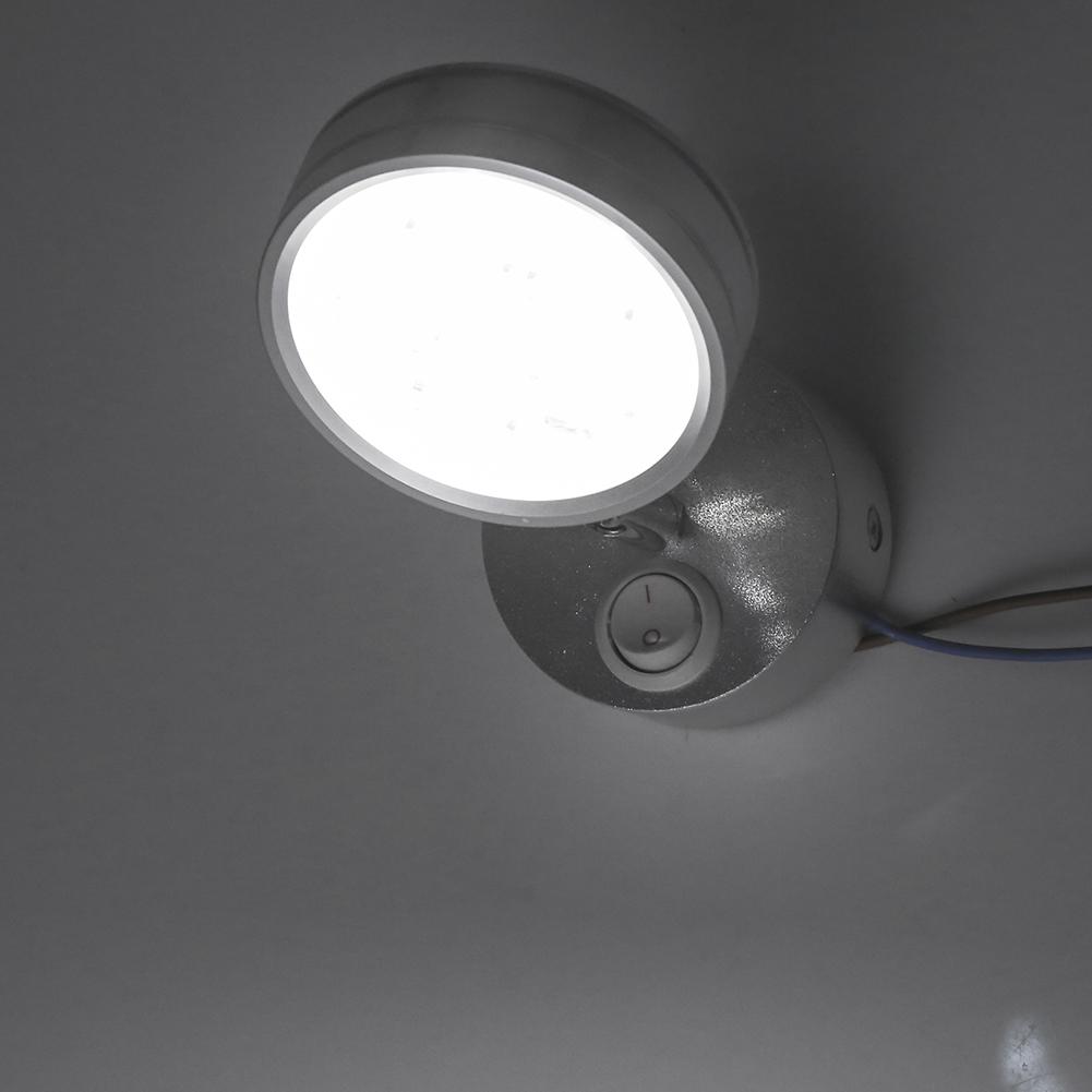 runde 360 drehbare wandleuchte 5w led wandlampe mit schalter silber wei ebay. Black Bedroom Furniture Sets. Home Design Ideas