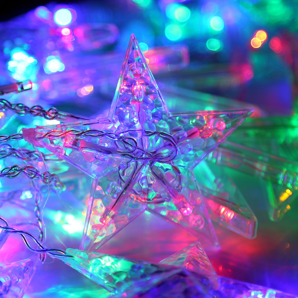 LED Lichterkette Weihnachten Sterne Bunte Fenster Dekor ...