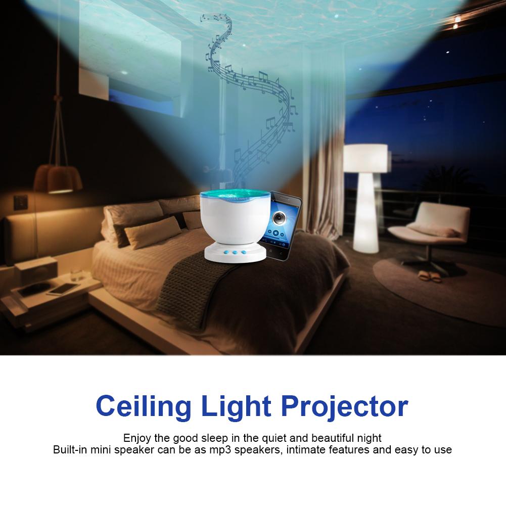 romantische ozean wellen led nachtlicht projektor schlafzimmer mit lautsprecher ebay. Black Bedroom Furniture Sets. Home Design Ideas