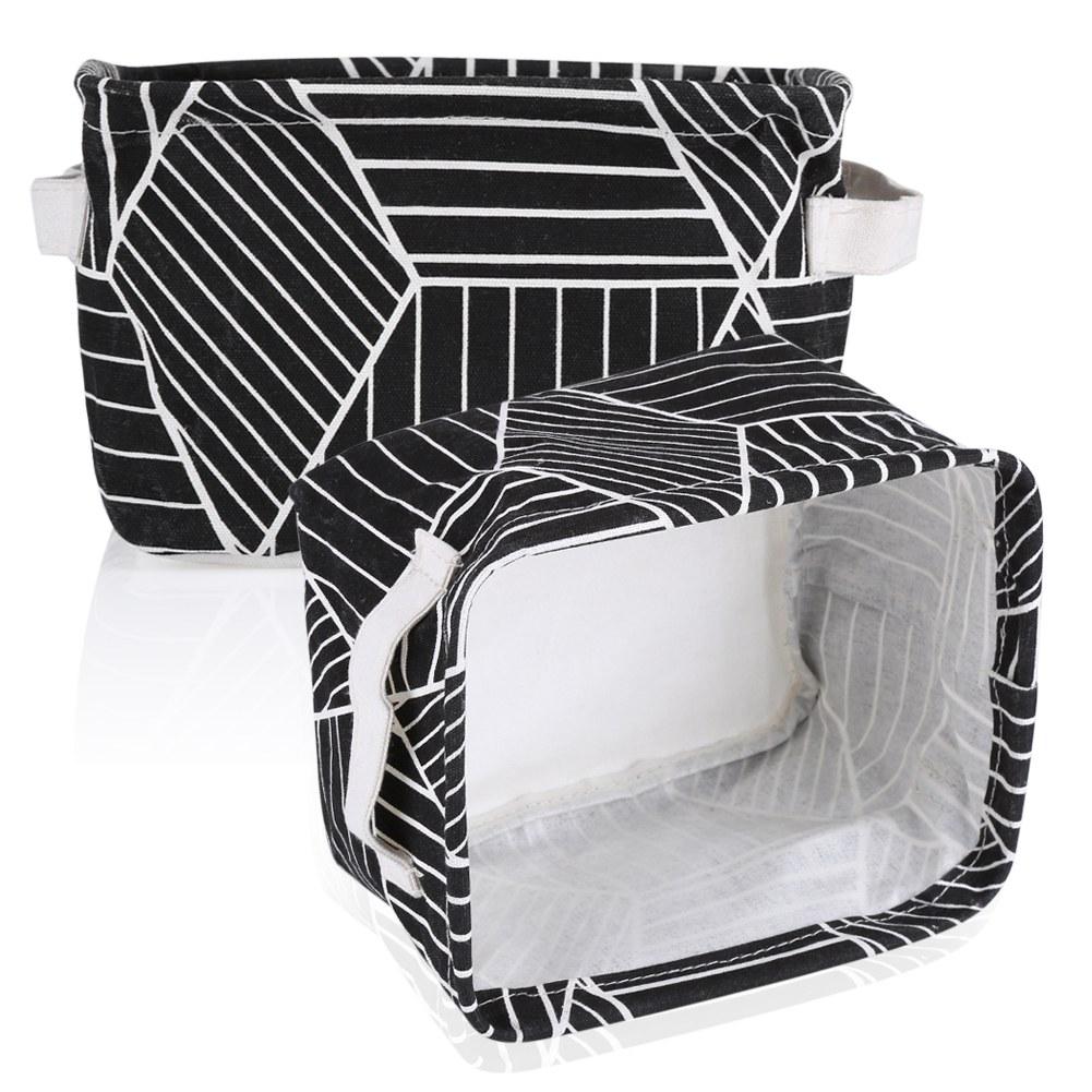 Panier De Rangement Tissu 29x29 : Pliable bo?tes de rangement tissu lin panier