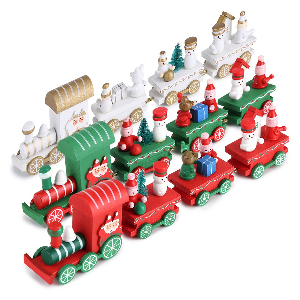 Train de no l en bois ornement de f te du p re no l d coration fen tre no l ebay - Pere noel en bois ...