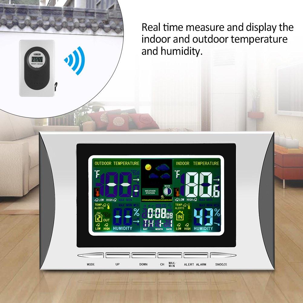 multifunktionlcd digital feuchte temperatur uhr anzeige wecker mit sensor ebay. Black Bedroom Furniture Sets. Home Design Ideas