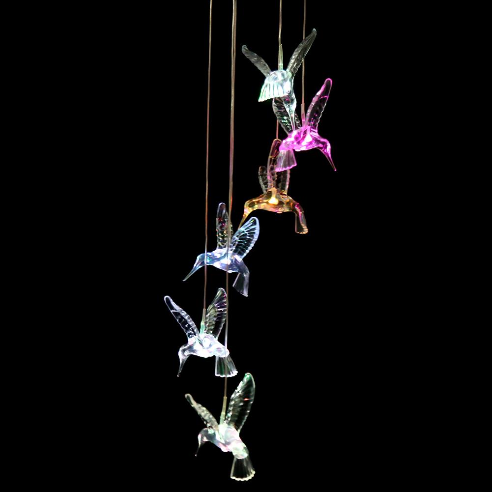 Led Shop Light Humming: Color Changing Light Humming Bird LED Solar Mobile Wind