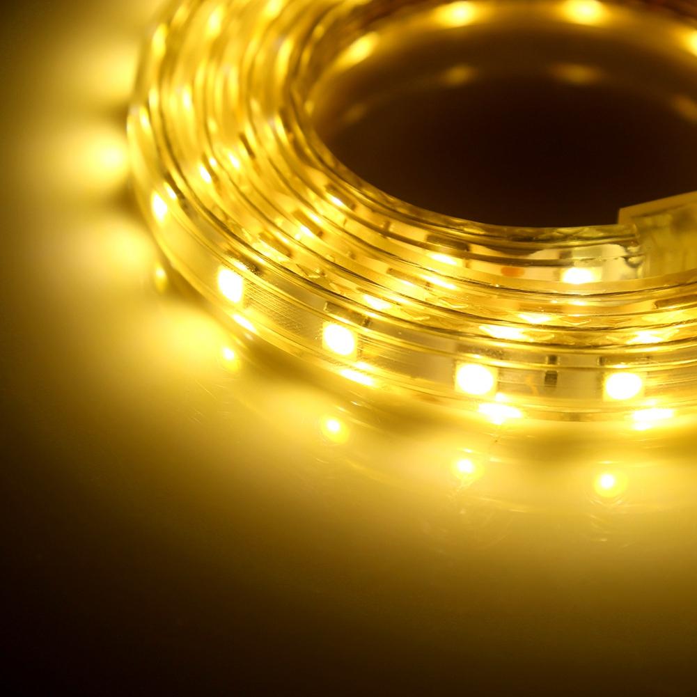 1m-5m-10m-220V-3-Couleurs-Ruban-Bande-LED-SMD-5050-Etanche-Barre-Lumineuse-Douce miniature 11