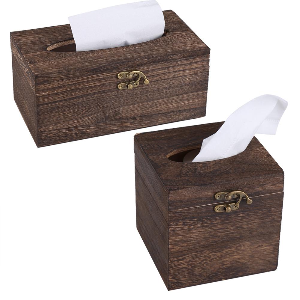 Boite a mouchoirs en bois bo te de papier rangement cr ative lisse d coration ebay - Boite de rangement papier ...