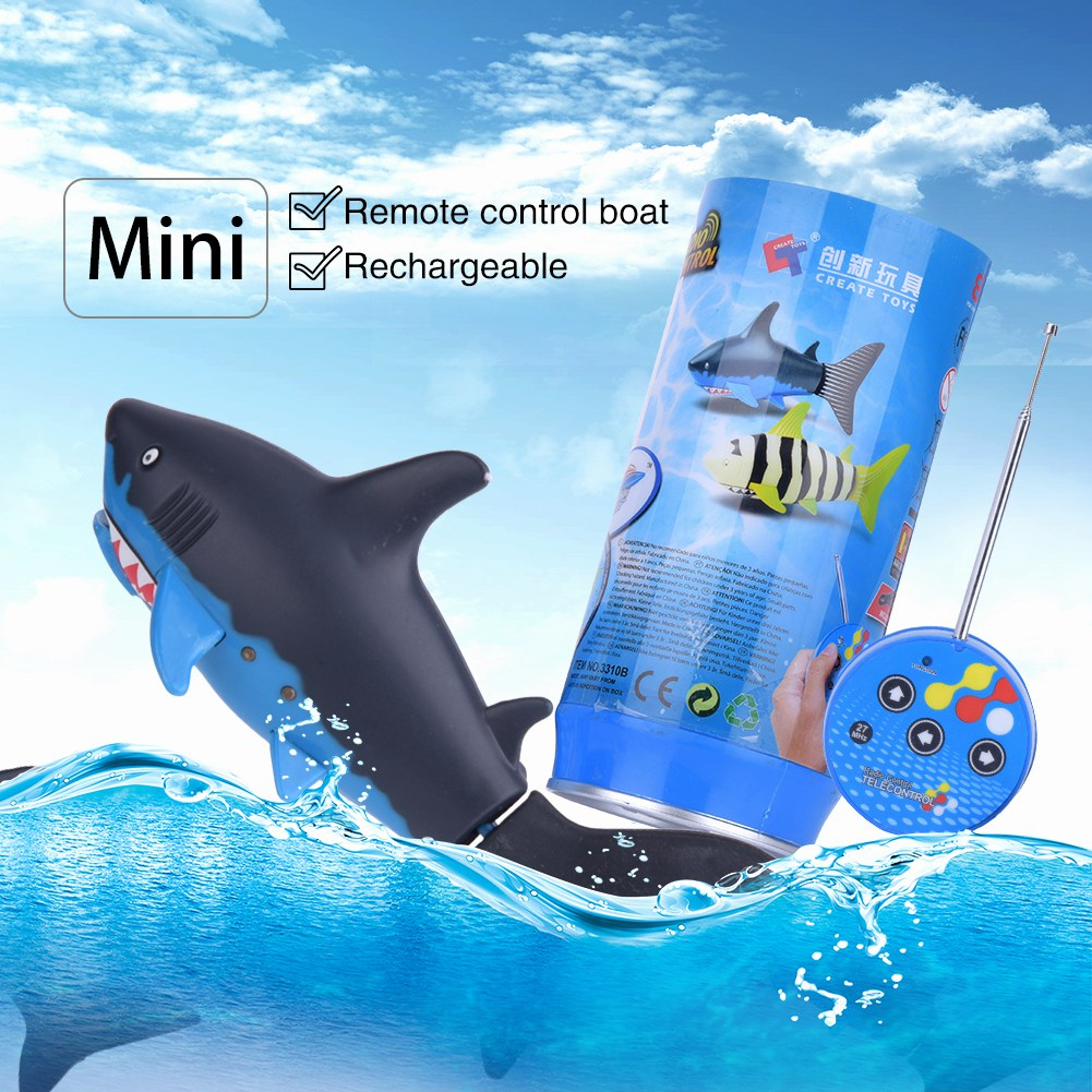 Shark Ship Toy : Cute mini rc fish shark remote control boat ship