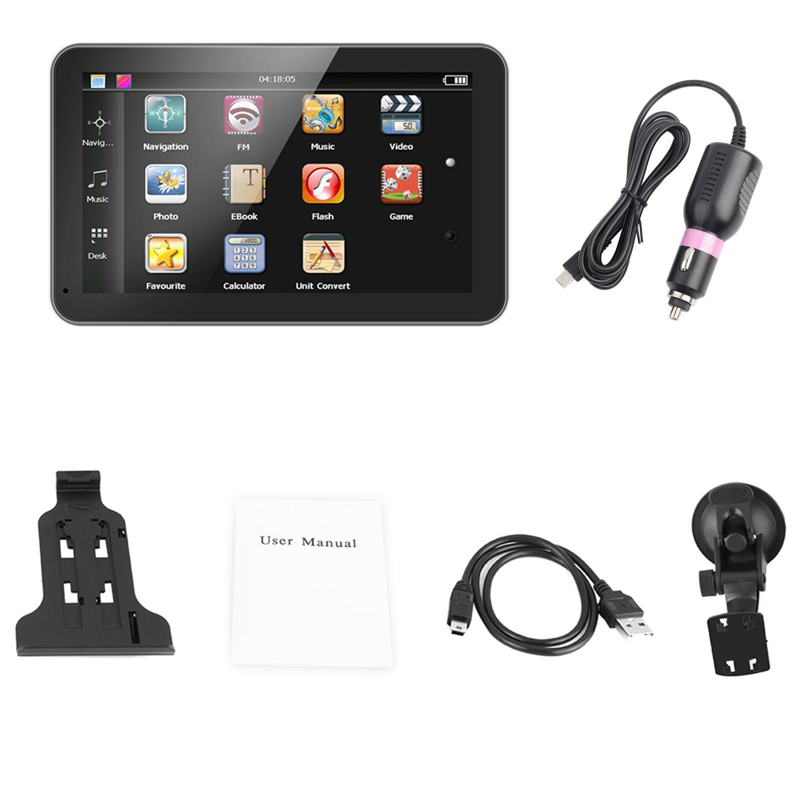 7 pouces 128mb navigation gps ecran tactile navigateur noir avec chargeur ebay. Black Bedroom Furniture Sets. Home Design Ideas