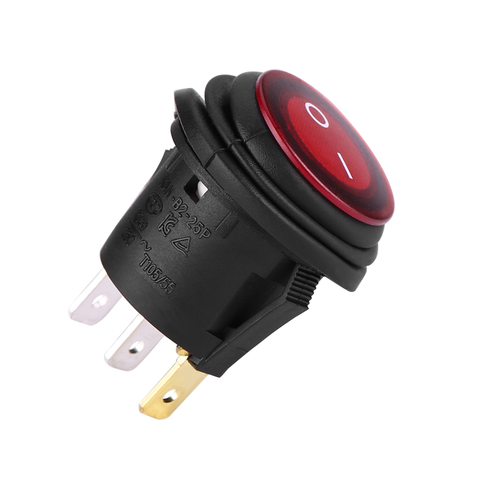 2pcs 12v interrupteurs bascule rouge 3 broches etanche switch voiture moto ebay. Black Bedroom Furniture Sets. Home Design Ideas