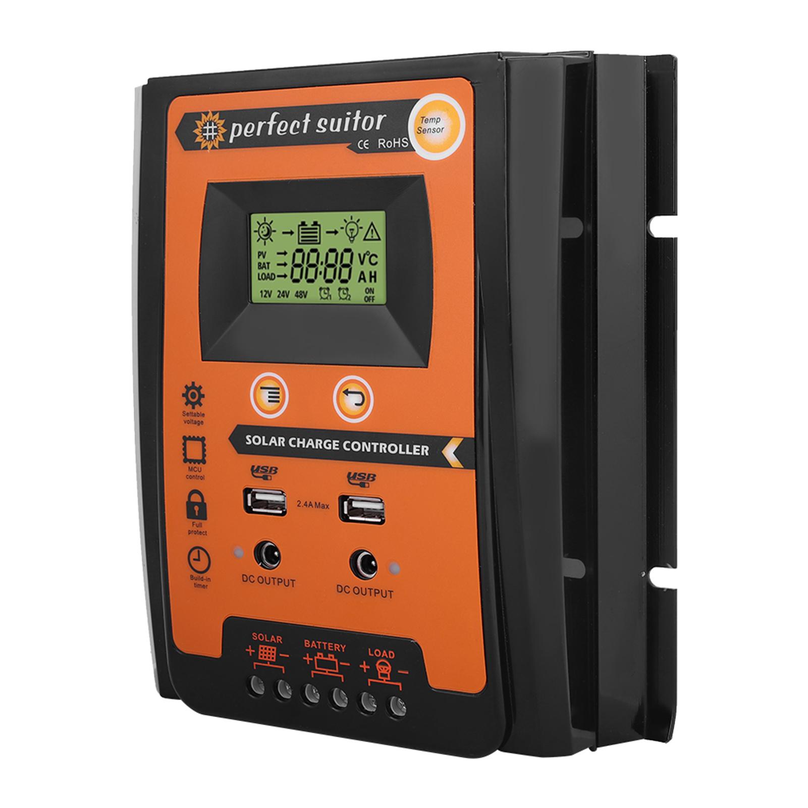 12V-24V-70A-MPPT-Regolatore-Di-Carica-Solare-LCD-Dual-USB-Batteria-Controller miniatura 14
