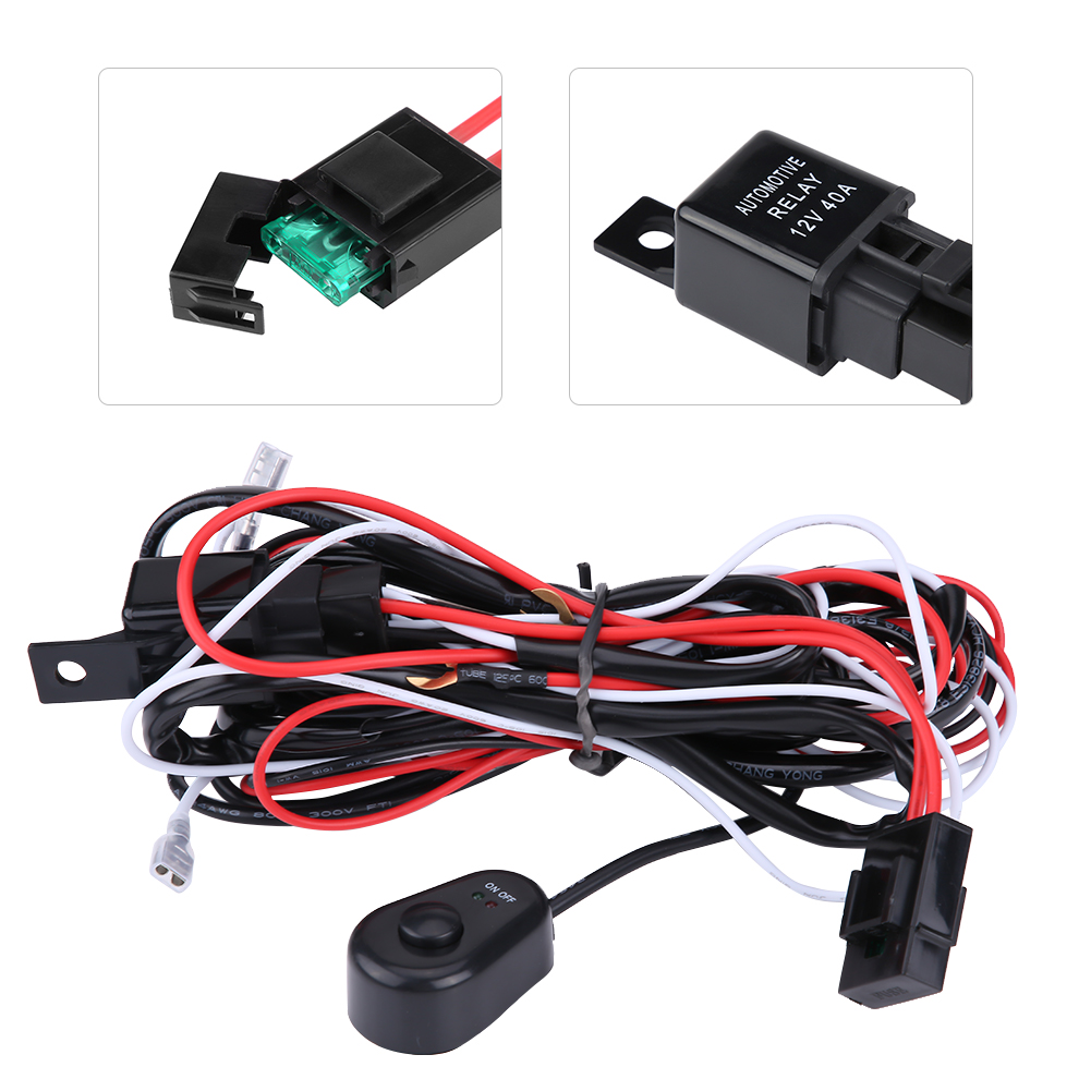 40a 12v Power Switch Relay Wiring Harness Kit For Car Led Light Bar Offroad Zy