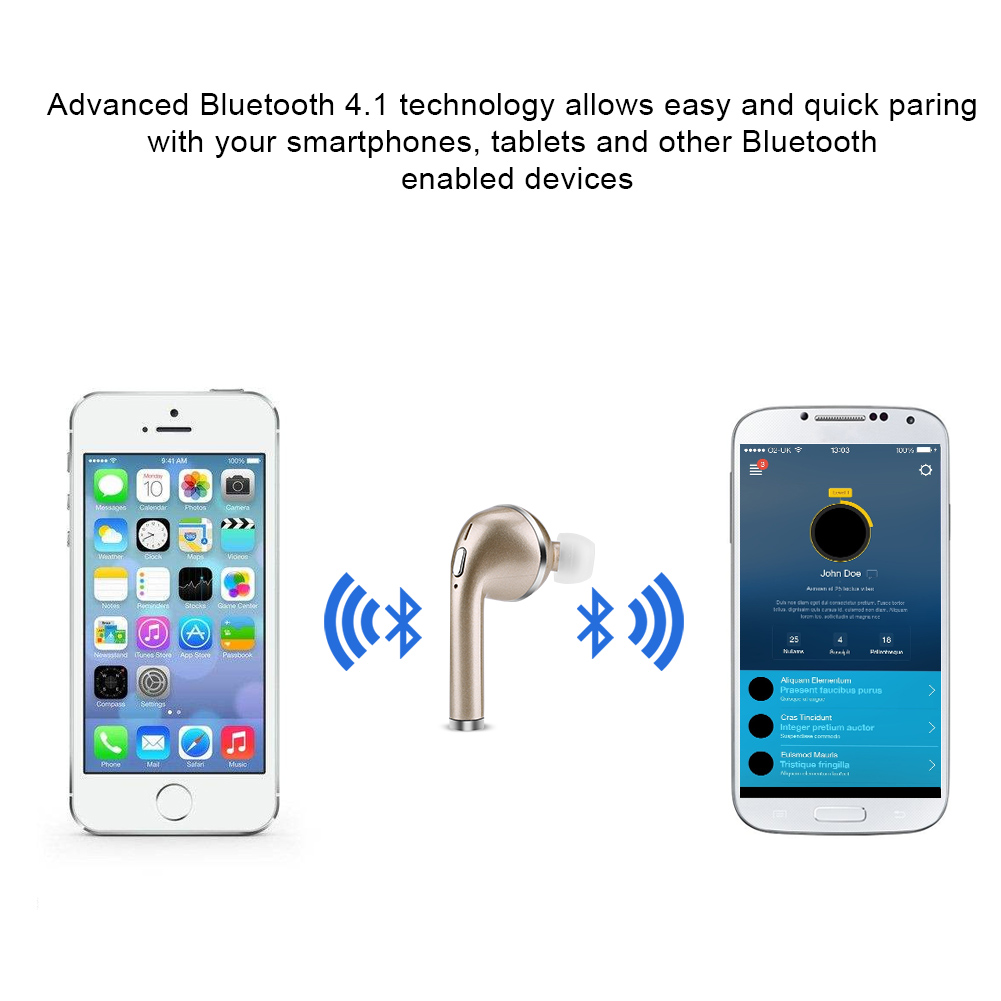 bluetooth couteur sans fil casques d 39 oreille audio st r o mic pour apple iphone ebay. Black Bedroom Furniture Sets. Home Design Ideas