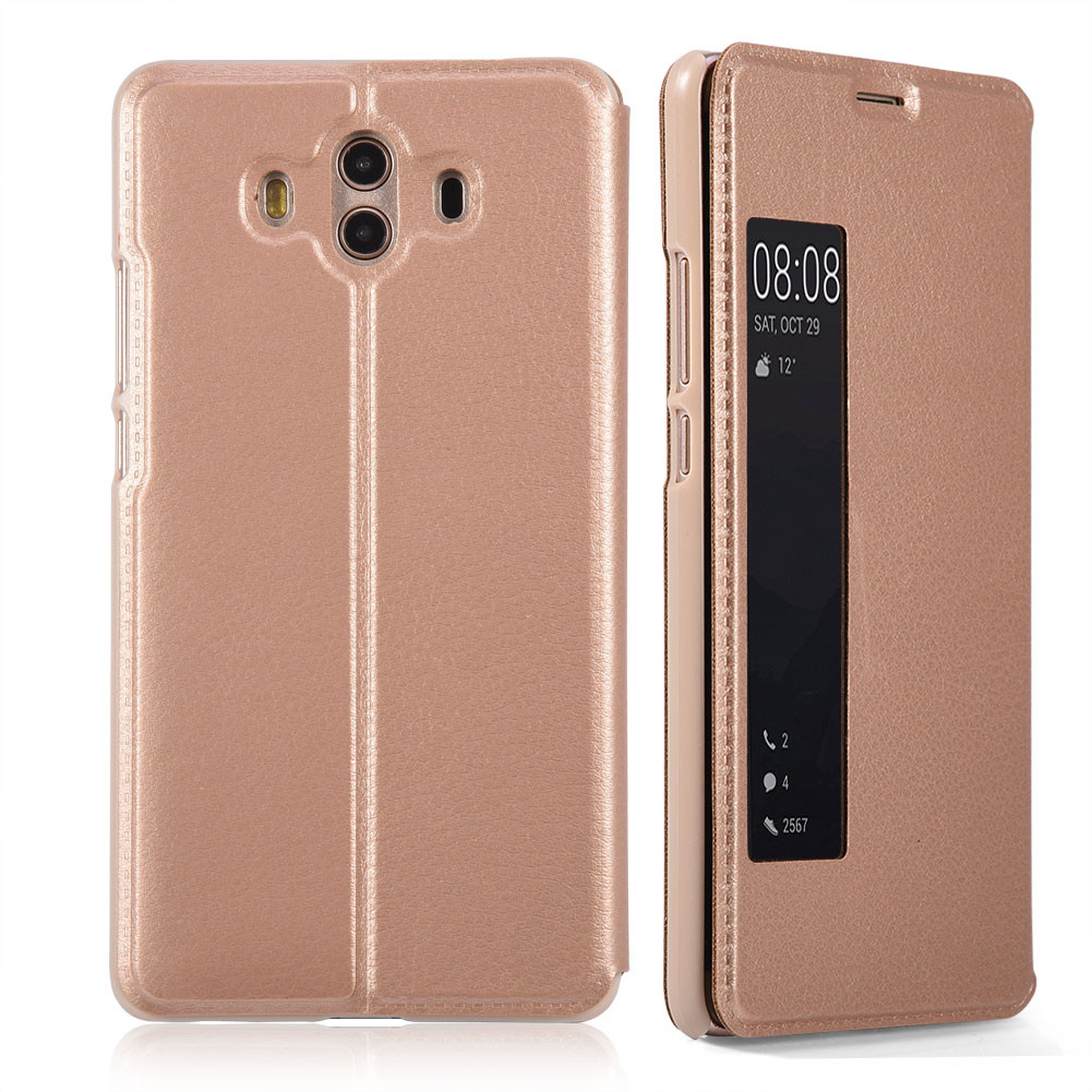 Shockproof-Full-Coverage-PU-Leather-Visible-Window-Case-Stand-For-Huawei-Mate-10