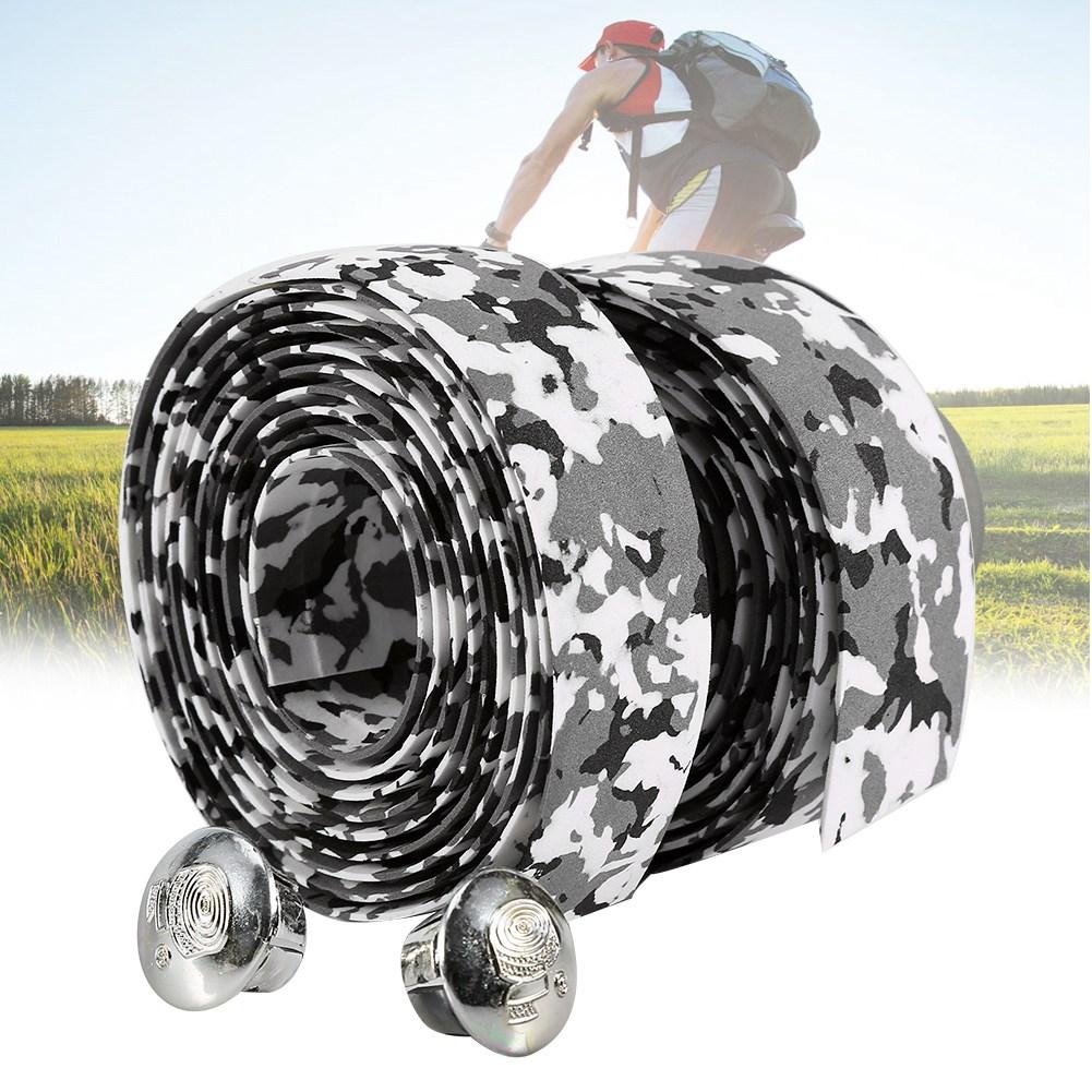 thumbnail 19 - 2PCS MTB Road Bike Bicycle Handlebar Reflective Grip Wrap Tape + 2 Bar Plugs
