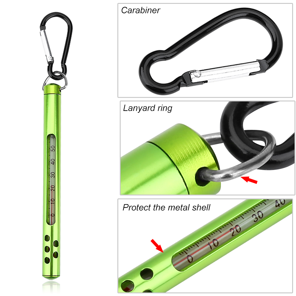Metall-Angeln-Wasser-Thermometer-Fliegenfischen-Werkzeug-Angeln-Zubehoer